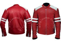 """Chance to Grab this Special #CyberMonday Offer!! Fight Club Tyler Durden Red & White Leather Jacket for Boys. This Jacket Worn by Brad Pitt as Tyler Durden in his Famous Action Movie """"Fight Club"""". This Attire is a Complete Blend of Elegance and Comfort, Deserving to be Your Fashion Statement!!  #cybermonday #leatherjacket #parties #shopping #fashion #awesome #boysfashion #menfashion #apparels #followme #instadaily #stylish #famous #winterfashion #fashionstyle #casual #streetstyle #ravishing"""