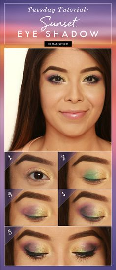 If you're looking to play around with your eye makeup palette and experiment with different colors, try out this colorful look! This sunset eye shadow tutorial is easy and really plays up your eyes! See the tutorial and how to do it yourself!