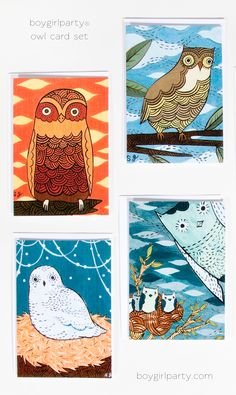 Owl notecard set by Susie Ghahremani / boygirlparty® at: https://www.etsy.com/listing/62206876/owl-note-cards-set-notecards-owl