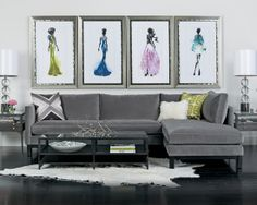 Wonderful Mongolian Sheepskin Pillows And Rugs: Modern Living Room Gray L Shape Sofa With Mongolian Sheep Pillow And The Photos Of Strong Black Women ~ arkoop.com Furniture Inspiration
