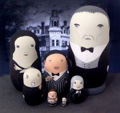 The Addams Family Matryoshka Dolls by bobobabushka on Etsy, $180.00