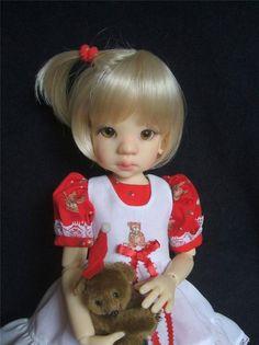 Teddy Bear Dress w/Pini ~ Talyssa, Mei Mei ~ MSD ~ BJD ~ Kaye Wiggs ~ By Gail