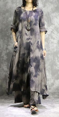 Vintage Print Loose Spring Suit Women Gray Two Piece Casual Top With Wide-leg Pa… - New Dress Kurta Designs Women, Blouse Designs, Mode Hippie, Casual Dresses, Fashion Dresses, Suits For Women, Clothes For Women, Indian Designer Wear, Chic Dress