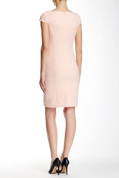 Tahari Cap Sleeve Foldover Neck Sheath Dress