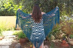 Fringe crochet shawl  Gypsy knit wrap shawl  by ettygeller on Etsy