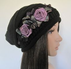 Black Knit Slouch Beanie Winter Hat with by theraggedyrose on Etsy