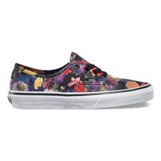 The Galaxy Floral Authentic combines the original and now iconic Vans low top style with a unique allover print, sturdy canvas uppers, metal eyelets, and signature waffle outsoles.