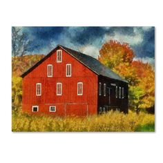 This ready to hang, gallery-wrapped art piece features a red barn in a field in…