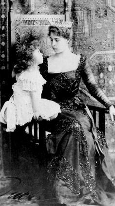 Princess Elisabeth and her mother, Grand Duchess Victoria Melita of Hesse. Married to Ernst (Ernst was rumored to be gay, and likely was), Alexandra's brother. Victoria later left him and married Kirill, pretender to the Romanov throne.