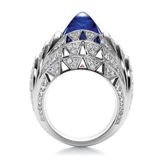 This is literally one of the coolest rings I've ever seen. Skyscraper by Harry Winston, Cabochon Sapphire and Diamond Ring