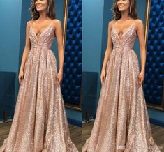 Sexy Rose Gold Deep V Neck 2020 Bridesmaid Dresses Sequins Fabric With Spaghetti Straps Ruched Long Cheap Wedding Party Formal Gowns Vintage Bridesmaid Dresses Uk Wedding Dresses Short From Stunningdress88, $62.57| DHgate.Com Vintage Bridesmaid Dresses, Vintage Formal Dresses, Wedding Dresses Uk, Cute Prom Dresses, Formal Dresses For Weddings, Bridal Gowns, Formal Gowns, Long Sequin Dress, Beaded Prom Dress