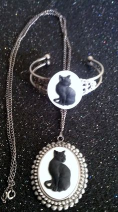 Cat Cat necklace Cat cameo cat jewelry ready to by msformaldehyde, $15.00