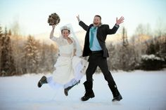 New Hampshire winter wedding in boots ~ JUMP!