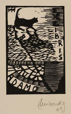 Paula Adamo bookplate (or ex libris), by Marcela Miranda (2009).