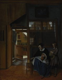 """""""A Woman Preparing Bread and Butter for a Boy,"""" Pieter de Hooch, about 1660 - 1663. The use of vertical lines and geometric forms conveys the orderly simplicity of this interior scene. Natural light spills through the front door and onto the tiled entryway."""