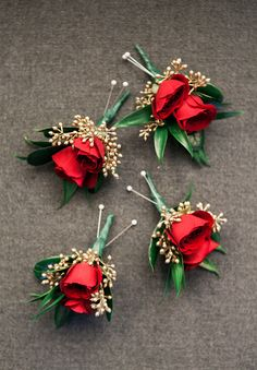 Red rose boutonnière with gold seeded accent. Daisy Wedding Flowers, Winter Wedding Flowers, Wedding Bouquets, Wedding Dresses, Red Rose Boutonniere, Red Rose Bouquet, Boutonnieres, Red Corsages, Red Roses