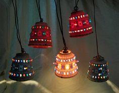 Vintage Lawnware Hanging String Lights Outdoor Patio Tiki 19.5 Feet 5  Lanterns