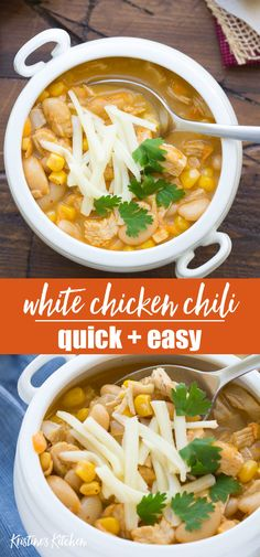 and Easy White Chicken Chili Recipe! This healthy stove top chili is light. , Quick and Easy White Chicken Chili Recipe! This healthy stove top chili is light. , Quick and Easy White Chicken Chili Recipe! This healthy stove top chili is light. Chicken Lunch Recipes, Leftover Chicken Recipes, Leftovers Recipes, Dinner Recipes, Easy Chicken Chili, Quick White Chicken Chili Recipe, Leftover Rotisserie Chicken, Recipes Using Rotisserie Chicken, Ground Beef Recipes