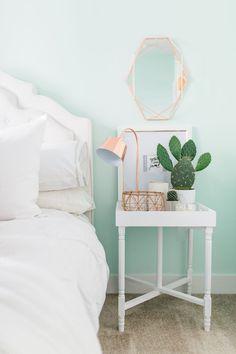 Light mint colored walls