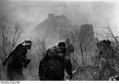Shock troops of the 'Grossdeutschland' Division making a counterattack in village in Russia.1944