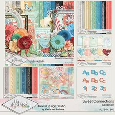 Digital scrapbooking kit from Alexis Design Studio SWEET CONNECTIONS http://www.thedigichick.com/shop/Sweet-Connections-Collection.html