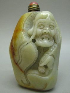 Chinese Arhat Pattern Carved Nephrite Jade Snuff Bottle