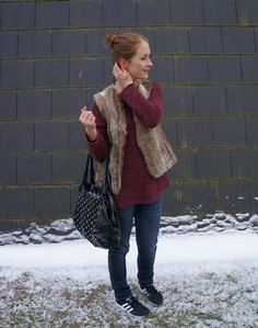 Look of the day: Bordeaux and Fur