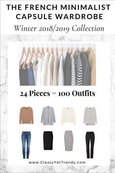 efd6a7e2e284 French Minimalist Capsule Wardrobe Winter 2018-2019 - Transform your closet  with this 24 piece