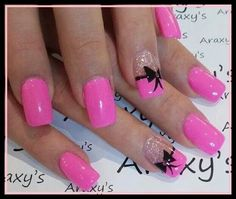 Pink nails, with bow tie and glitter