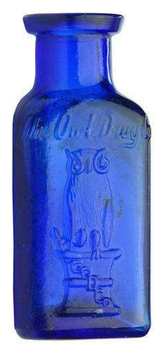 Auction 27 Preview | 750 | Owl Drug Mortar Pestle Cobalt Blue Bottle Blue Glass Bottles, Cobalt Glass, Blue Bottle, Glass Jars, Cobalt Blue, Antique Bottles, Vintage Bottles, Bottles And Jars, Antique Glass
