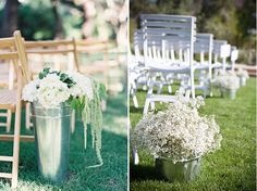 I think I'm going to do French flower buckets with assorted cream/peach flowers and a few succulents for the aisle