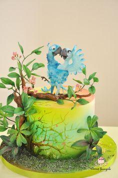 Rio - cake by Evgenia Vinokurova Jungle Safari Cake, Safari Cakes, Buttercream Cake, Fondant Cakes, Rio Cake, Cake Competition, Cupcake Queen, Hand Painted Cakes, Cake Topper Tutorial