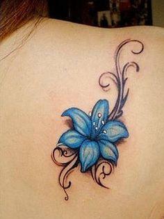 Tattoo Maksim Frost - tattoo's photo In the style Graphics, Female, Flowers, Ornamen Hawaiian Flower Tattoos, Lily Flower Tattoos, Flower Tattoo Foot, Flower Tattoo Shoulder, Rose Tattoos, Band Tattoos, Tattoos Skull, Feather Tattoos, Tatoos