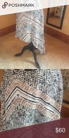 Asymmetrical Tribal Skirt Black, tan, and white tribal print skirt, asymmetrical, zipper in back BCBGeneration Skirts Asymmetrical