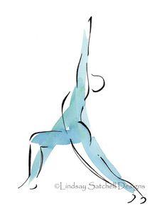 Yoga art print  Warrior Pose by Lindsay Satchell Designs - $25 on Etsy  https://www.etsy.com/listing/58815677/yoga-art-print-warrior-pose?ref=shop_home_active_4  www.lindsaysatchelldesigns.com