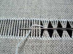 Drawn Thread Embroidery: Bunching threads together with a chain loop