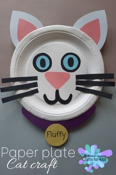 A fun and easy paper plate animal craft for children. This sweet and simple little craft is perfect for any cat lover or farm enthusiast! Farm Animal Crafts, Dinosaur Crafts, Animal Crafts For Kids, Spring Crafts For Kids, Art For Kids, Craft Kids, Kid Art, Toddler Paper Crafts, Preschool Crafts