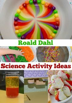 Easy Roald Dahl themed science experiments for kids of all ages. Make an upside down house for the Twits. Mr Twits wormy spaghetti, a candy house for Charlie and lots Food Science Experiments, Preschool Science Activities, Science For Kids, Science Centers, Summer Science, Primary Science, Science Chemistry, Children Activities, Kindergarten Science