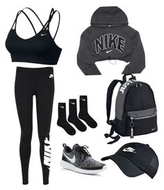 Work out time by queenbriezoo ❤ liked on Polyvore featuring NIKE