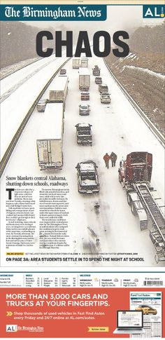 """CHAOS"" gets the full page on Alabama's Birmingham News, with fewer cars on the road"