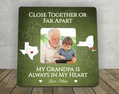 Gift for Grandpa, Christmas Gift for Grandpa, Grandfather Gift, Personalized Picture Frame,Close Together or Far Apart Grandma,Long Distance by EnchantedHillStudios on Etsy
