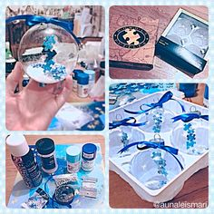 Finally finished! My autism awareness ornaments :) I plan on giving these to our parents and grandparents and am toying with the idea of making more for Christopher's awesome teachers!  These are made with clear glass ornaments, snowflake sequins, spray adhesive, white glitter, blue ribbon, tiny jingle bells, silver thread, and different shades of blue paint all from Hobby Lobby, and a puzzle with the smallest puzzle pieces I could find at Walmart,
