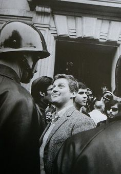 Radical Leader Confronts Riot Police With A Grin....Paris  May 1968.