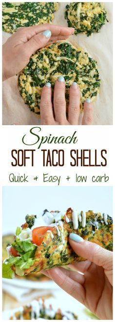 This is the Healthiest party food I ever made! Only 4 ingredients to make yummy spinach taco shells! It contains less than 2 g net carb, g fiber and 9 g protein per taco. Clean eating approved no (Spinach Recipes) Mexican Food Recipes, Vegetarian Recipes, Healthy Recipes, Protein Recipes, Paleo Meals, Paleo Food, Veggie Food, Food Food, Low Carb Taco Shells