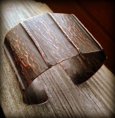 Copper Fold Formed Cuff Bracelet with Tree Texture by Silk Creek Metalworks, $39.00 www.etsy.com/shop/silkcreekmetalworks