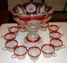ruby stained punch bowl Antique Dishes, Antique Glassware, Flint Glass, China Display, Punch Bowl Set, Cranberry Glass, China Tea Sets, Kings Crown, Waterford Crystal