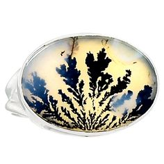 Scenic Dendritic Agate 925 Sterling Silver Ring Jewelry s.7