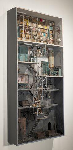 Marc Giai-Miniet - Memoria (SIDE) () Average Joe, Fire Escape, Cabinet Of Curiosities, Miniature Rooms, Miniature Houses, Dioramas, Assemblages, Installation Art, Little Houses