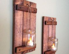 Wooden Candle Holder Rustic Wall Sconce Mason Jar Candle