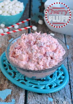 Cherry Fluff dessert salad is one of my favorites!  This easy dump and go salad is perfectly sweet, pretty and pink! | MomOnTimeout.com